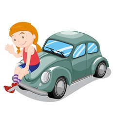 Girl and car vector image vector image