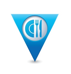 restaurant icon map pointer blue vector image
