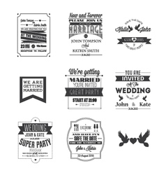Set of wedding invitations vector image vector image