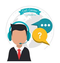 Call center man business bubble speech vector