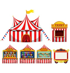 Circus tent and game boothes vector