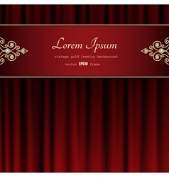 Gold frame on red curtain vector image