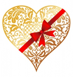 gold heart with bow vector image vector image