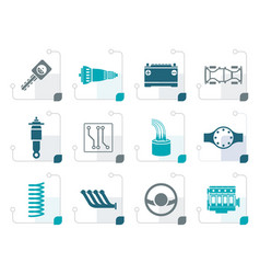 stylized realistic car parts and services icons vector image vector image