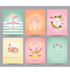 Vintage Flamingo Card Set - for Birthday Wedding vector image vector image