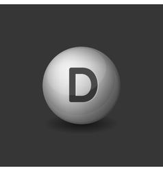 Vitamin D Silver Glossy Sphere Icon on Dark vector image