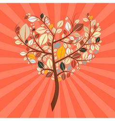 Abstract Retro Heart Shaped Tree vector image vector image