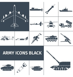 Army Icons Black vector image