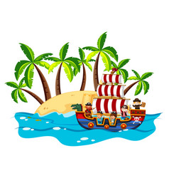 children and pirate on viking ship vector image