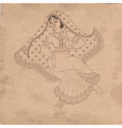 dancing indian woman on old paper vector image vector image