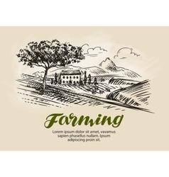 Farm sketch Agriculture rural landscape farming vector image