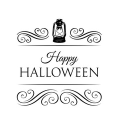 happy halloween logo with lamp and swirls vector image vector image