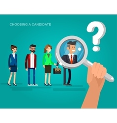 Hiring process concept with candidate selection vector image vector image