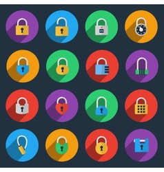 Padlock icons in flat style vector image vector image