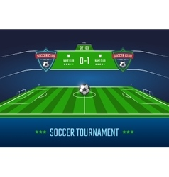 Soccer field with scoreboard vector image vector image
