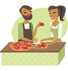 Young couple preparing pizza vector image vector image
