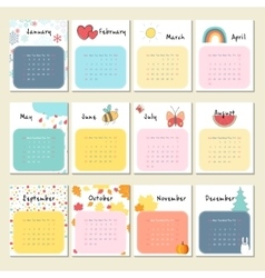 Calendar 2017 with cute animals insects and other vector image