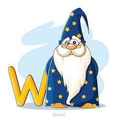 Cartoons alphabet letter w with funny wizard vector