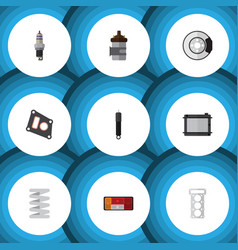flat icon auto set of packing crankshaft vector image