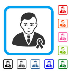 gentleman with mourning ribbon framed cheerful vector image vector image
