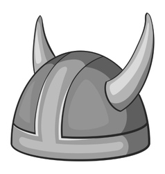 Metal combat helmet icon gray monochrome style vector image vector image
