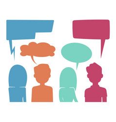people heads with speech bubbles feedback and vector image