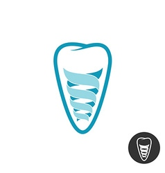 Tooth implant logo Teeth outline symbol with vector image vector image