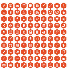100 diagnostic icons hexagon orange vector