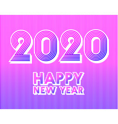 2020 happy new year background retro line design vector image