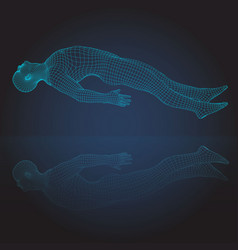 3d wire frame human bodyhorizontal lying vector image