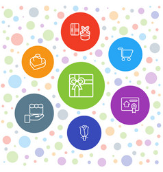 7 present icons vector image