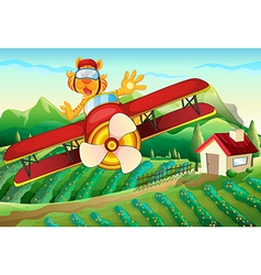 A plane with a lion flying above the farm vector