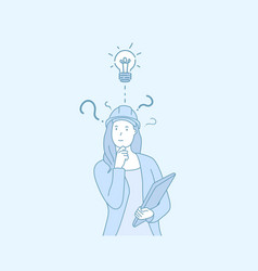a woman engineer have a good idea hand drawn style vector image