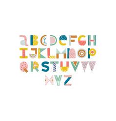Abstract stylish alphabet nursery lettering vector