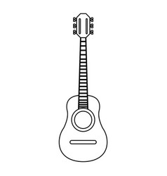 acoustic guitar instrument in black and white vector image