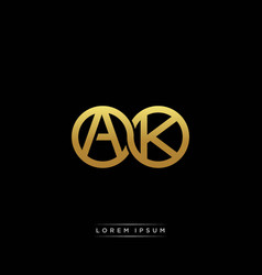 Ak initial letter linked circle capital monogram vector