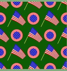 american flag and circle icon seamless pattern vector image