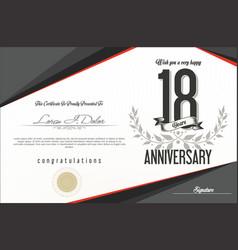 Anniversary retro background 18 years vector