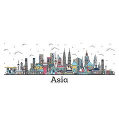 Asian landscape outline color famous landmarks vector