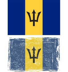 Barbados grunge flag vector