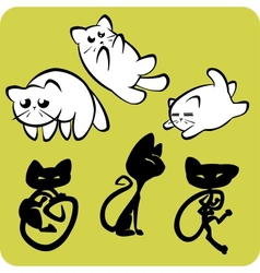 Black and White Cats - set vector