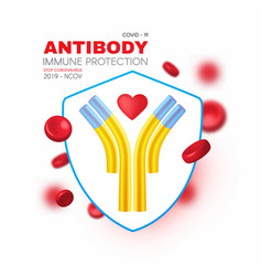 Blood shield and antibody healthcare 3d design vector