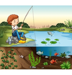Boy fishing by the river vector