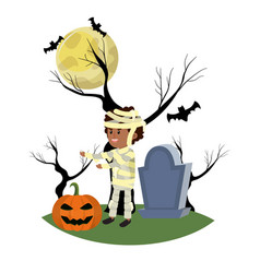 Boy with mommy costume in the cementery with vector