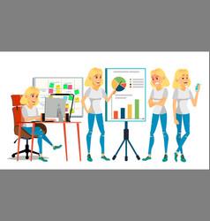 business woman character blonde elegant vector image