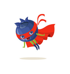 cartoon character of superhero blueberry flying up vector image