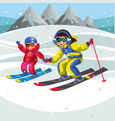 Cartoon child showing girl how to ski fast vector