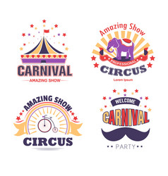 circus show and carnival party isolated icons tent vector image