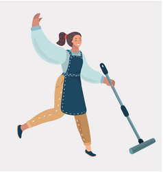 Cleaning lady with a mop cleaner woman in apron vector