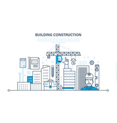 Construction of houses sites design solutions vector